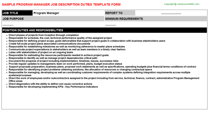 Program Manager Job Description Template