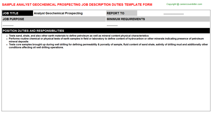 analyst geochemical prospecting job description template