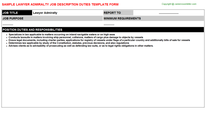 lawyer admiralty job description template