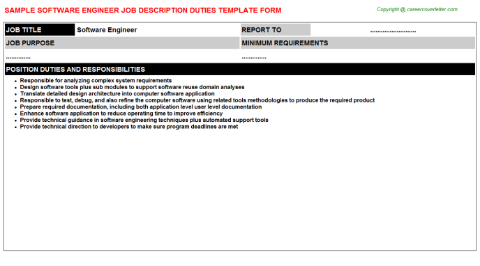 Software Engineer Job Description Template