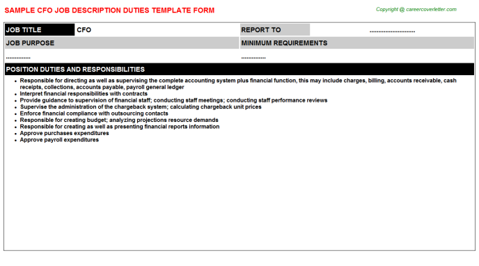 CFO Job Description Template