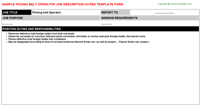 picking belt operator job description template