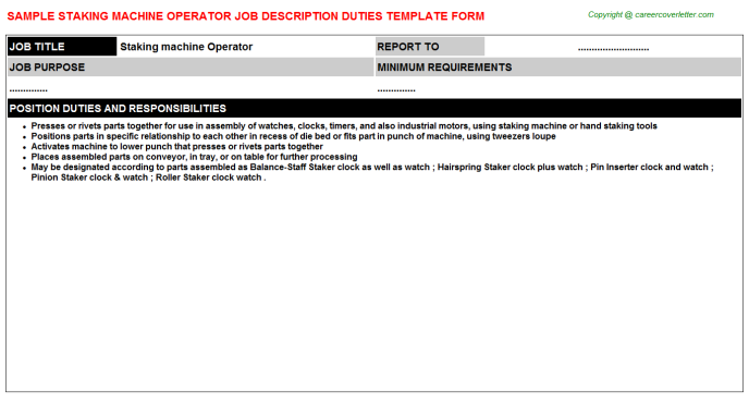 staking machine operator job description template