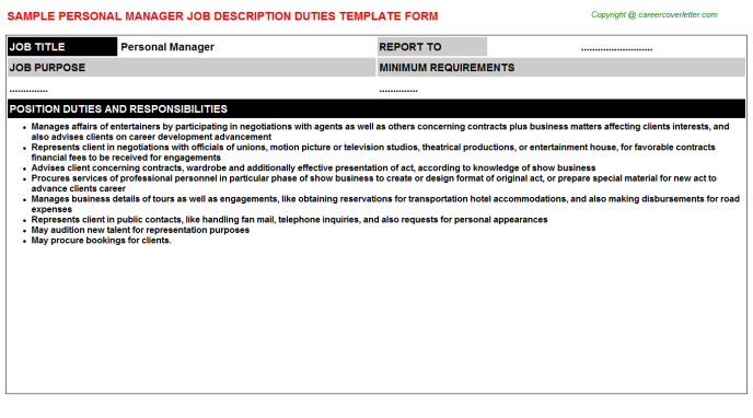 Personal Manager Job Description Template