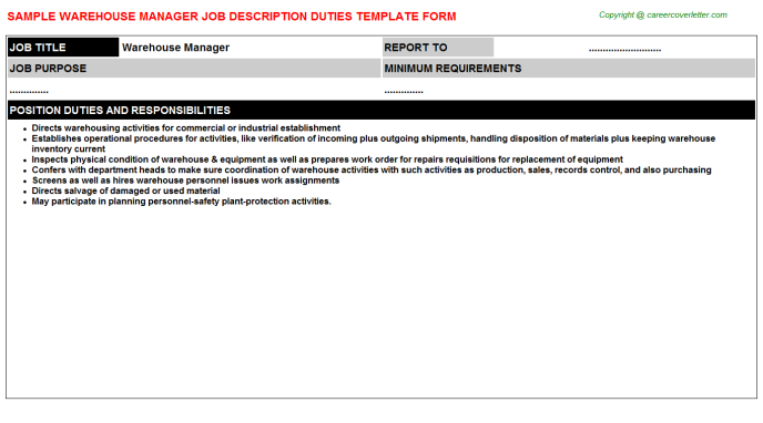 Warehouse Manager Job Description Template