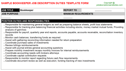 Bookkeeper Job Description Duties Template