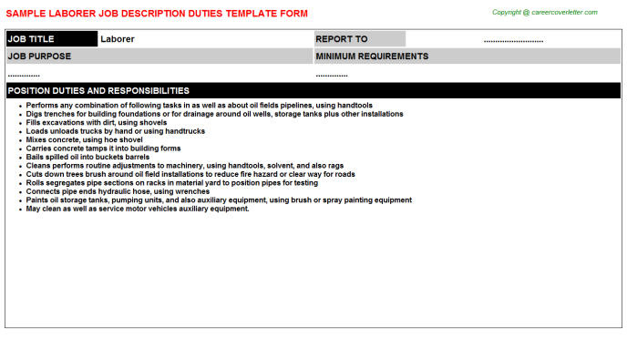 Laborer Job Description Template