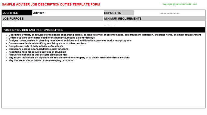 Adviser Job Description Template