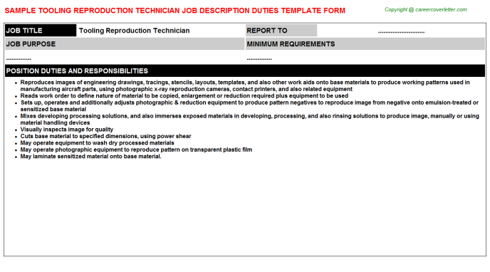 Tooling Reproduction Technician Job Description Template