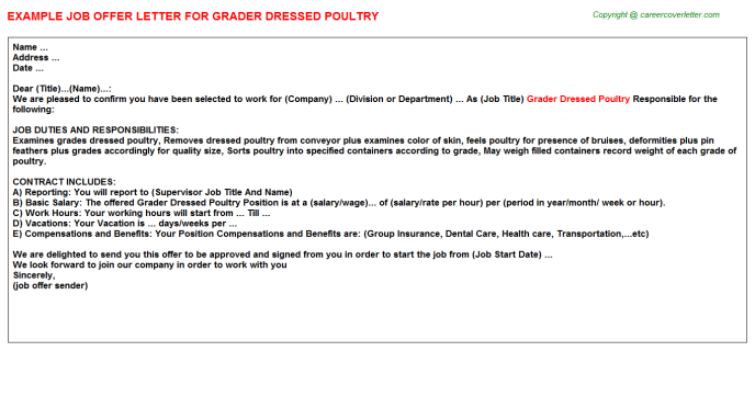 grader dressed poultry offer letter template