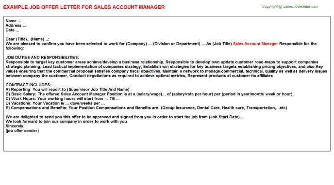 Sales Account Manager Offer Letter Template
