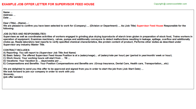 Supervisor Feed House Offer Letter Template