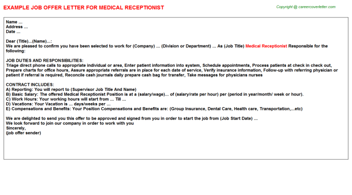 Medical Receptionist Offer Letter Template
