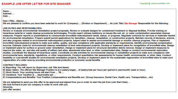 Site Manager Offer Letter Template