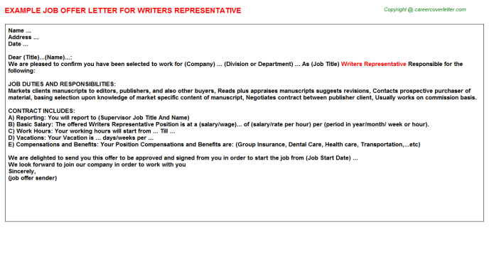 Writers Representative Offer Letter Template