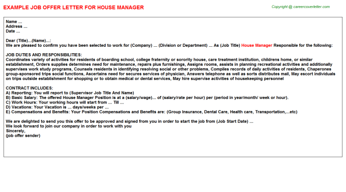 House Manager Offer Letter Template