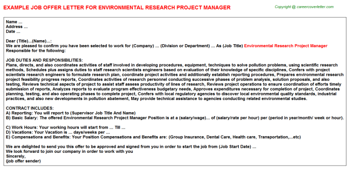 Environmental Research Project Manager Offer Letter Template