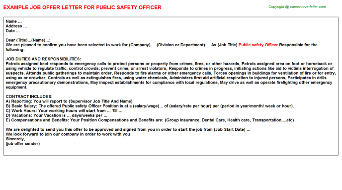 public safety officer offer letter template