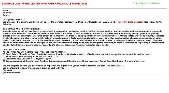 Paper Products Inspector Offer Letter Template