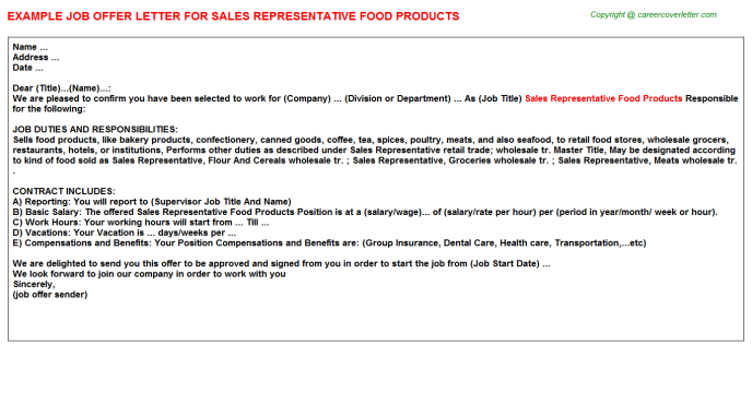 Sales Representative Food Products Offer Letter Template