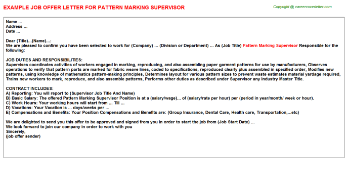 Pattern Marking Supervisor Offer Letter Template