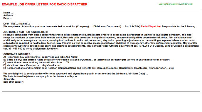 radio dispatcher offer letter template