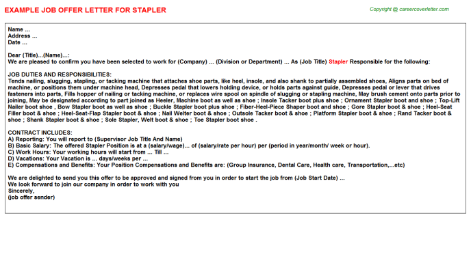 Stapler Offer Letter Template