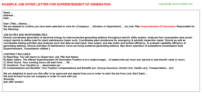 Superintendent Of Generation Offer Letter Template