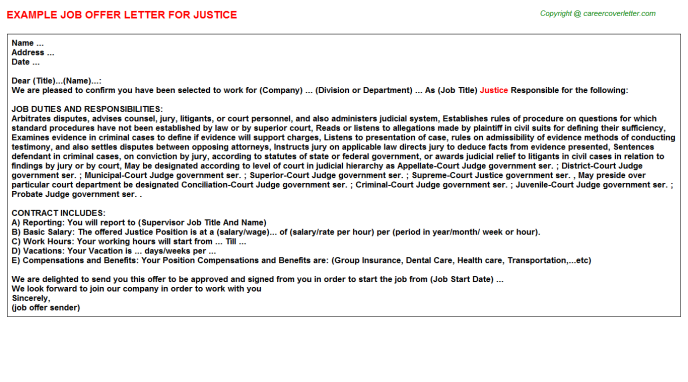 Justice Job Offer Letter Template