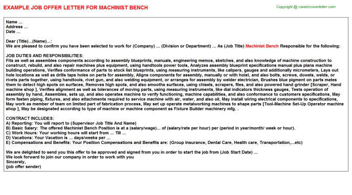 machinist bench offer letter template