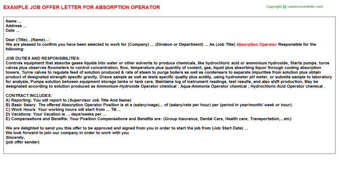 absorption operator offer letter template