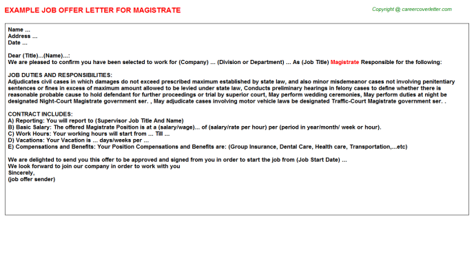 Magistrate Offer Letter Template