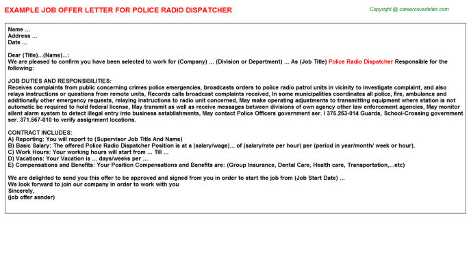 Police Radio Dispatcher Job Offer Letter Template