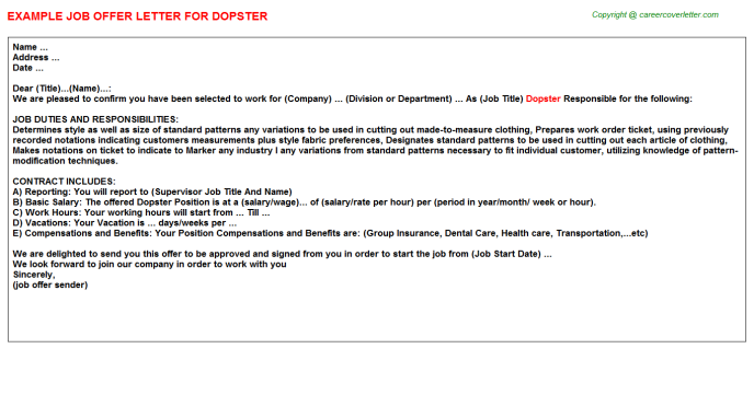 Dopster Offer Letter Template