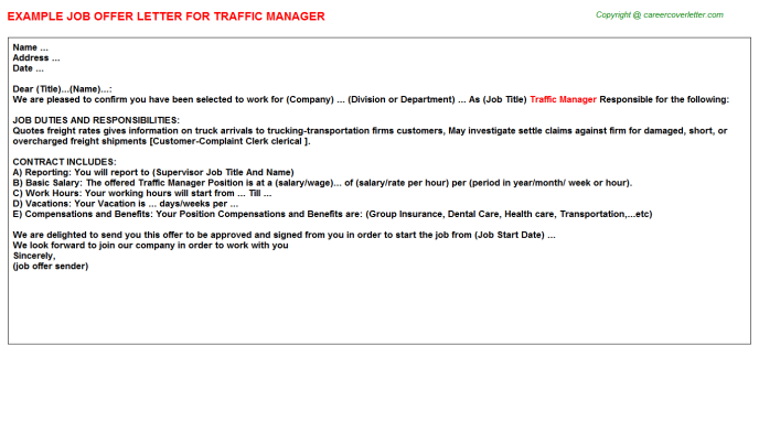 Traffic Manager Offer Letter Template