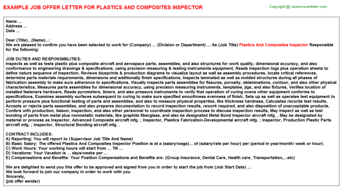plastics and composites inspector offer letter template