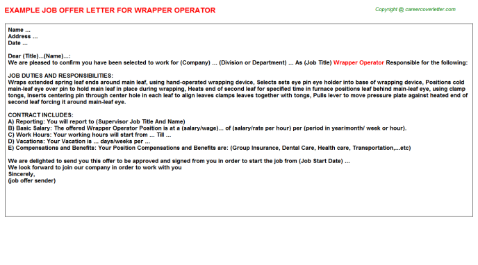 Wrapper Operator Offer Letter Template