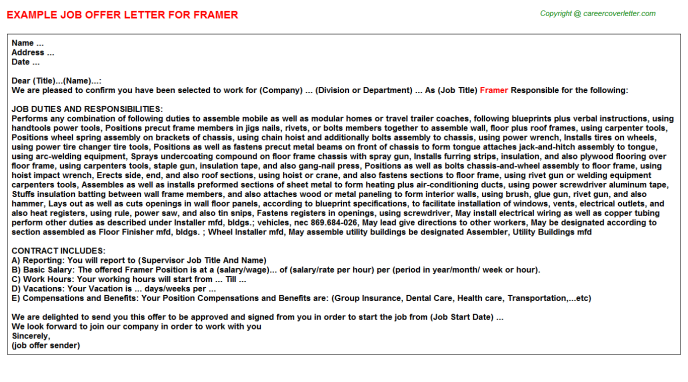 Framer Job Offer Letter Template