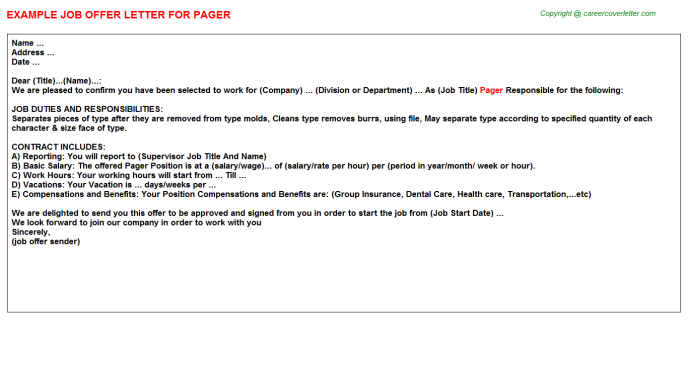 Pager Job Offer Letter Template