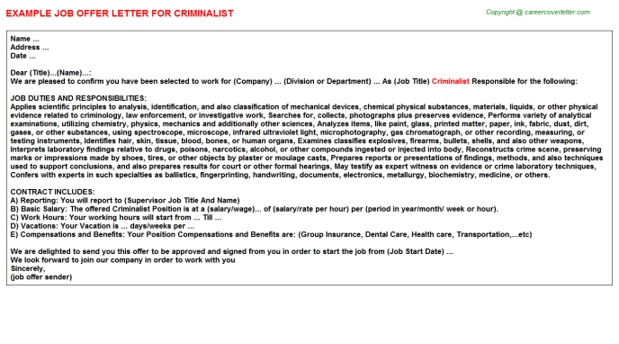 Criminalist Job Offer Letter Template