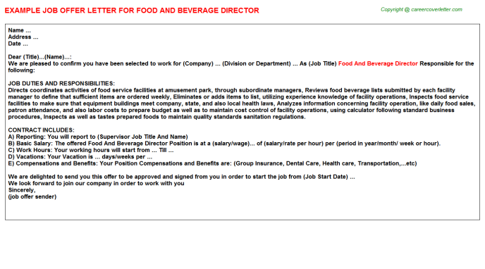 Food And Beverage Director Job Offer Letter | Job Offer Letters