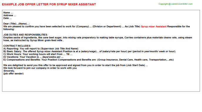 syrup mixer assistant offer letter template