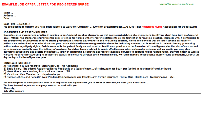 Registered Nurse Offer Letter Template