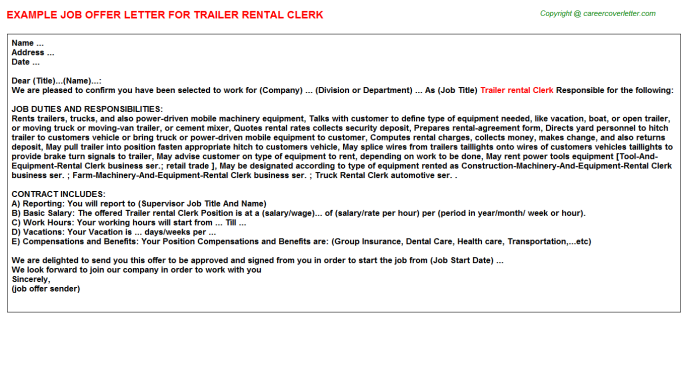 Trailer rental clerk job offer letter (#4619)
