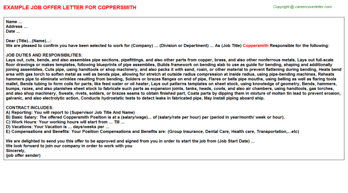 Coppersmith Job Offer Letter Template