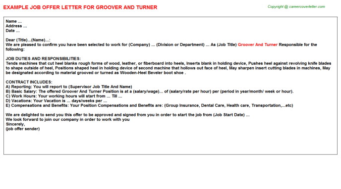 groover and turner offer letter template