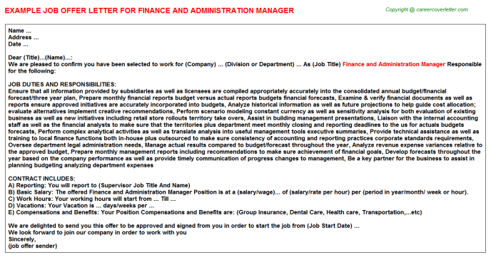 finance and administration manager offer letter template