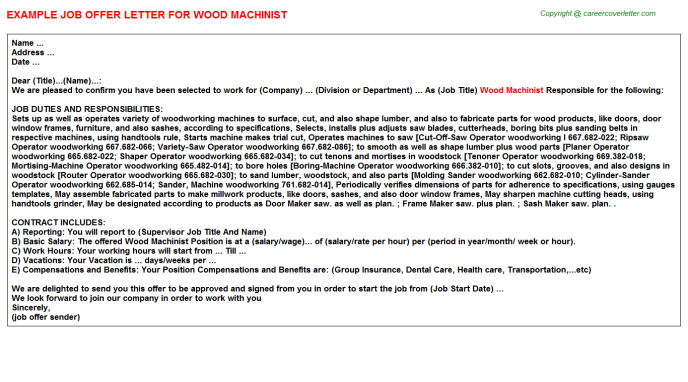wood machinist offer letter template
