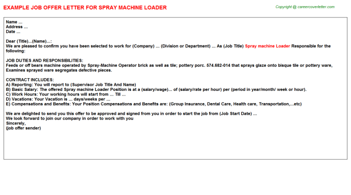 Spray machine Loader Offer Letter Template