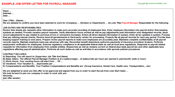 Payroll Manager Offer Letter Template